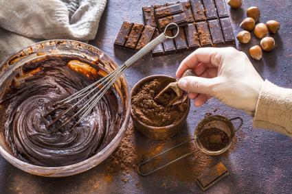 Preparing homemade chocolate dough