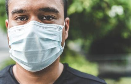 Man Wearing Pollution Mask