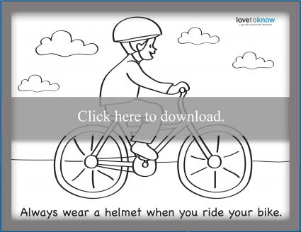 Bicycling safety coloring page