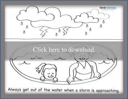 Summer storm safety coloring page