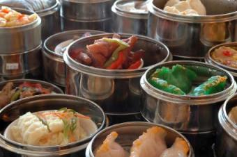 Dim sum and other Chinese dishes at a restaurant
