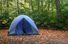 Blue tent set up at the campgrounds