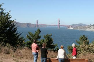 Viewing the Golden Gate Bridge from Lands End