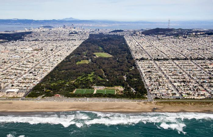Aerial photography view east of Golden Gate Park