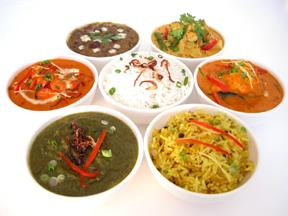 Seven traditional dishes at an Indian restaurant