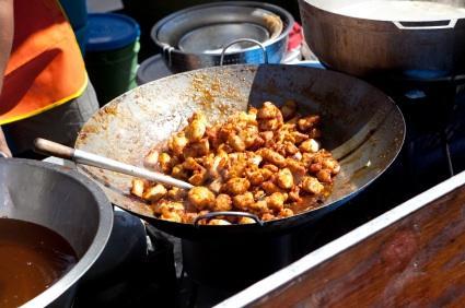 Stir fry pan with orange beef