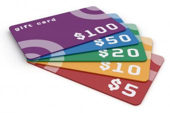 Colorful gift cards in various denominations