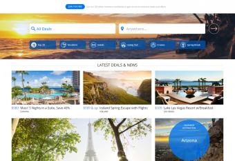 Screenshot of TravelZoo website