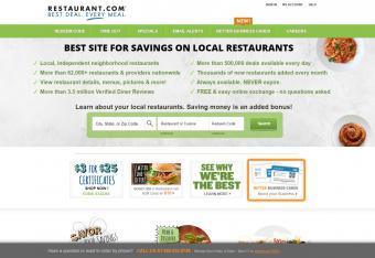 Screenshot of Restaurant.com