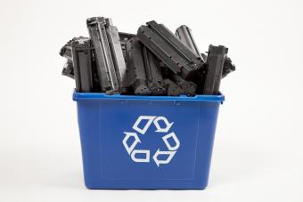 Recycling container full of toner cartridges