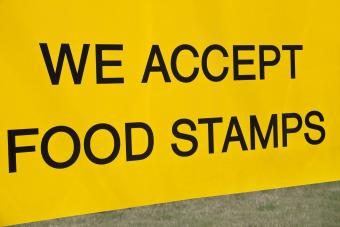 We accept food stamps sign seen in the front of the store