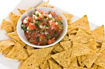 Chips and salsa for a crowd of party guests