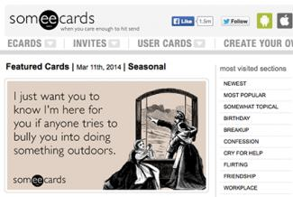 Screenshot of Someecards.com