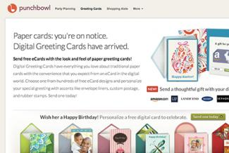 Screenshot of Punchbowl.com/ecards