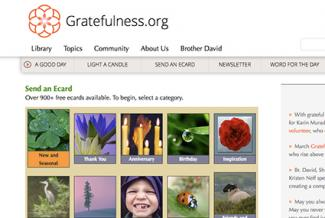 Screenshot of Gratefulness.org/ecards/