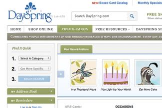 Screenshot of ecards.dayspring.com/ecards/