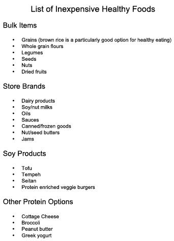 list of inexpensive healthy foods