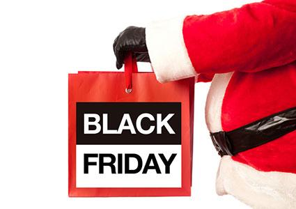 Black Friday Shopping Bag with Christmas Santa Claus