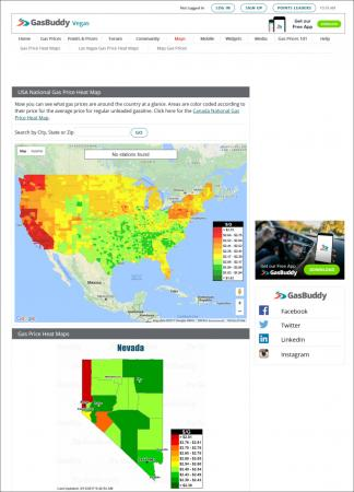 Heat map of gas prices