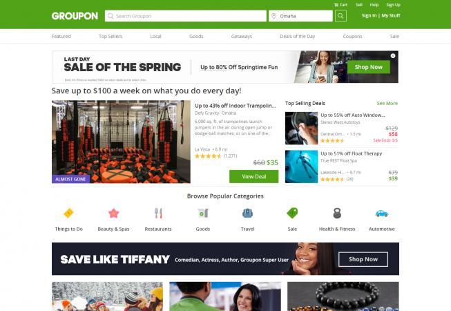 Screenshot of Groupon website