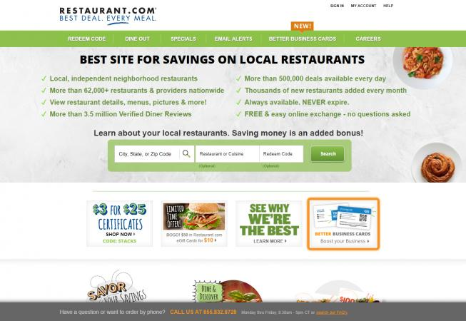 Screenshot of Restaurant.com