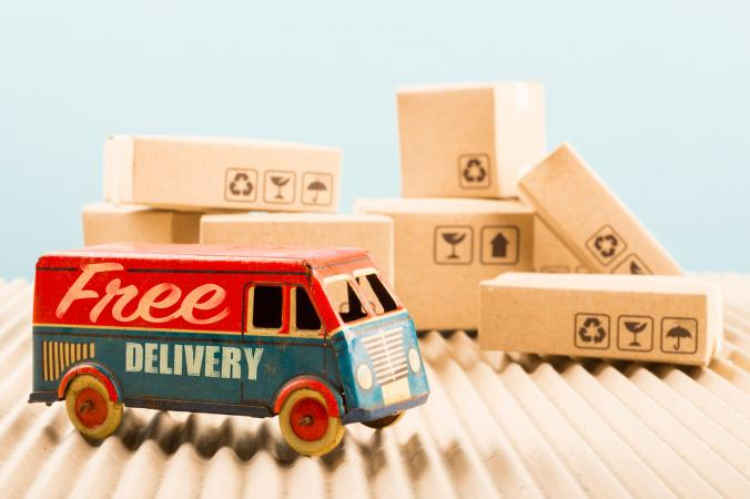 Free delivery truck with packages