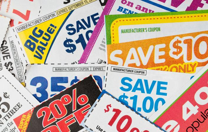 Stack of money saving coupons