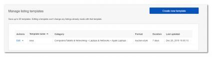 Screenshot of Ebay-Create New Template