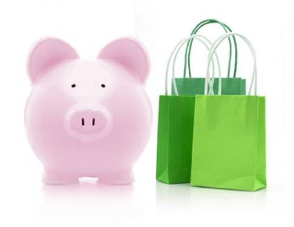 Image of piggy bank next to shopping bags