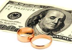 Image of wedding rings on a $100 bill