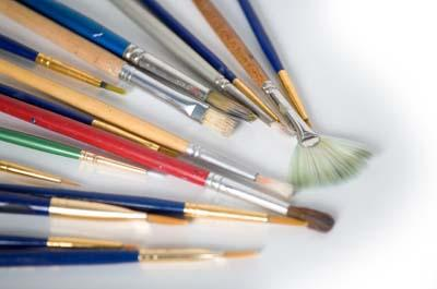 Assortment of inexpensive paint brushes for crafting