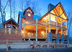 Image of a fancy log home