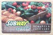 Subway sandwich rewards and cash card