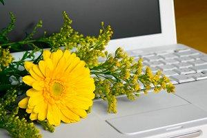 Flower arrangement laying on a laptop keyboard