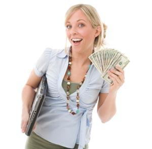 Woman showing money saved with bargains and freebies