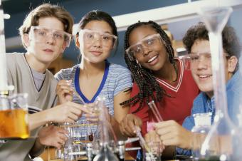 Boys and girls in a science laboratory