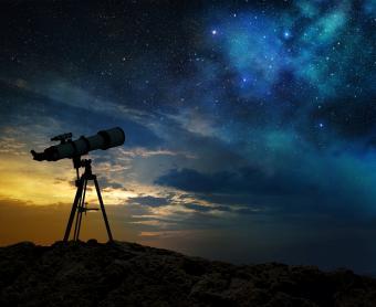 Milky way and telescope