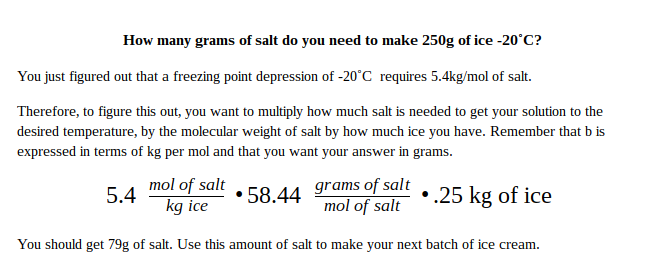 Grams of salt needed solution