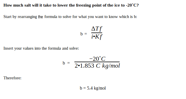 Freezing point depression solution #1