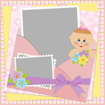 Artistic layout for baby scrapbook page; copyright Embosser at Dreamstime.com