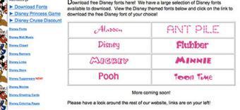 Disney Fonts at Wendy's Wonderland