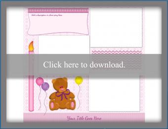 pink birthday teddy bear scrapbook template