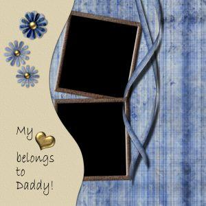 blue and beige scrapbook layouts for father's day