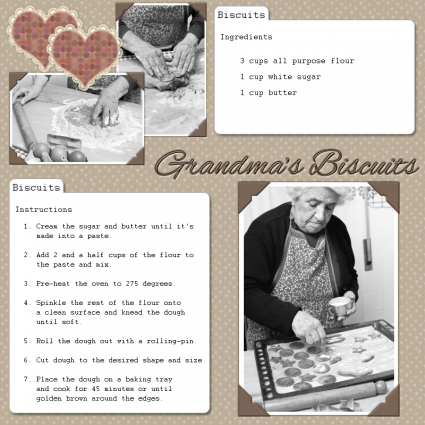 biscuits recipe scrapbook page