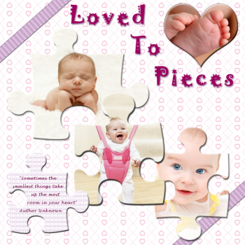 Loved To Pieces scrapbook title