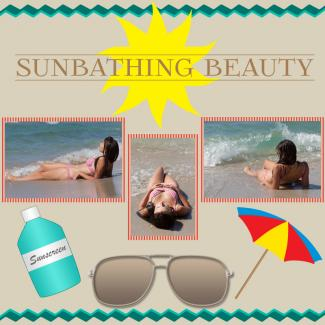 sunbathing beauty scrapbook page