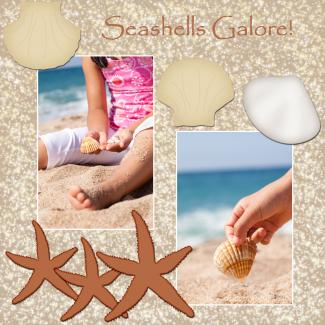 seashells galore scrapbook page