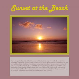 sunset at the beach scrapbook page