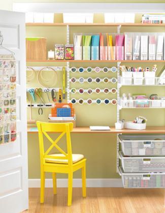 Scrapbooking storage ideas lovetoknow for Elfa desk system