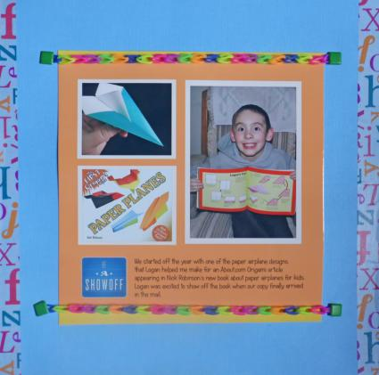 scrapbook page using Rainbow Loom bracelets as borders.